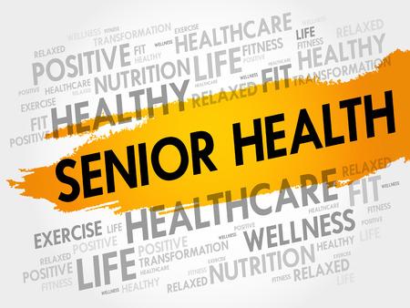 Senior gezondheid word cloud achtergrond, gezondheid concept