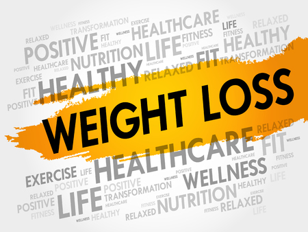 Collage de nuage de mot de perte de poids, fond de concept de santé Vecteurs