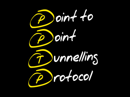 PPTP Point to Point Tunnelling Protocol, acronym business concept 向量圖像