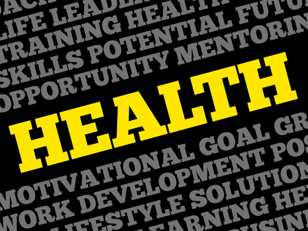 autocuidado: HEALTH word cloud collage, concepto de fondo Vectores