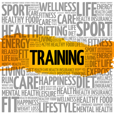 TRAINING word cloud collage, health concept background