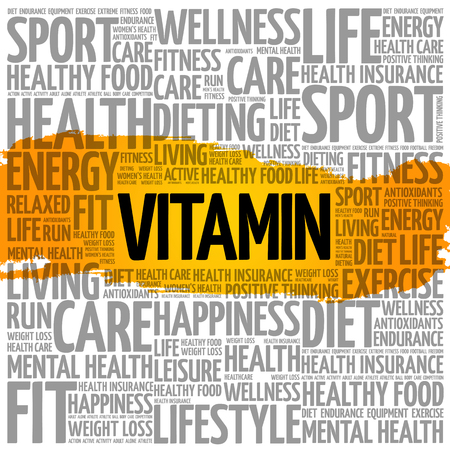 VITAMIN word cloud collage, health concept background