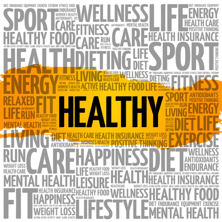 HEALTHY word cloud collage, health concept background Illustration
