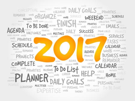 2017 Goals word cloud business concept background Illustration