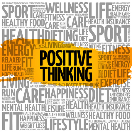 Positive thinking word cloud collage, health concept background