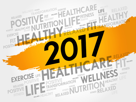 2017 Goals circle word cloud, health concept background. Illustration