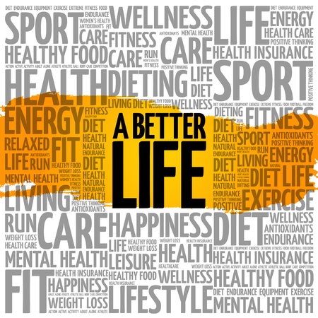 A Better Life word cloud background, health concept.