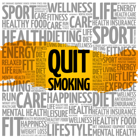 Quit Smoking word cloud health concept.