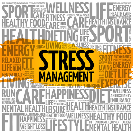 Stress Management word cloud collage health concept.