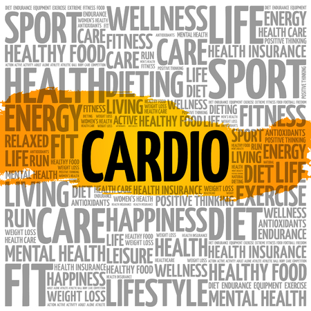 Cardio word cloud health concept.