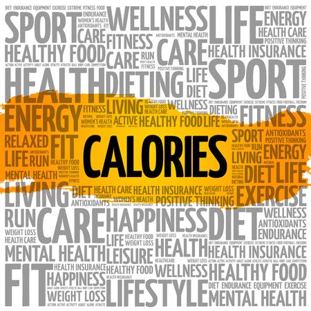 Calories word cloud health concept.