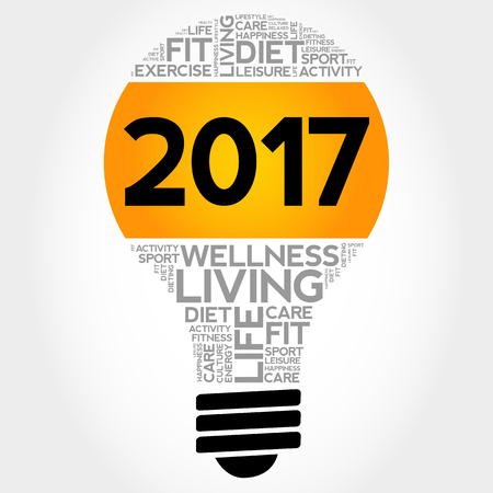2017 health goals bulb word cloud, health concept background Illustration