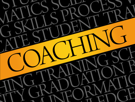 financial advice: COACHING word cloud collage, education concept background