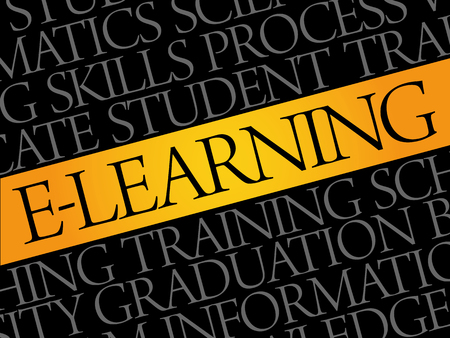 e business: E-LEARNING word cloud, education business concept