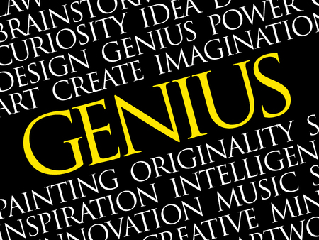 Genius word cloud collage, creative business concept background