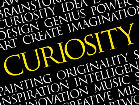 Curiosity word cloud, business concept presentation background
