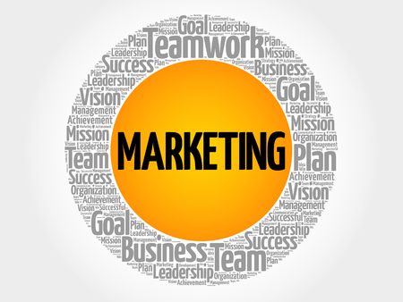 Marketing circle word cloud, business concept Illustration