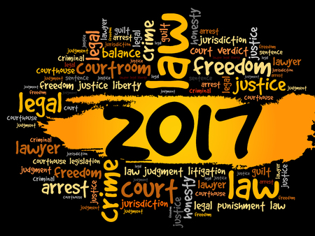 2017 Law word cloud business concept background Illustration