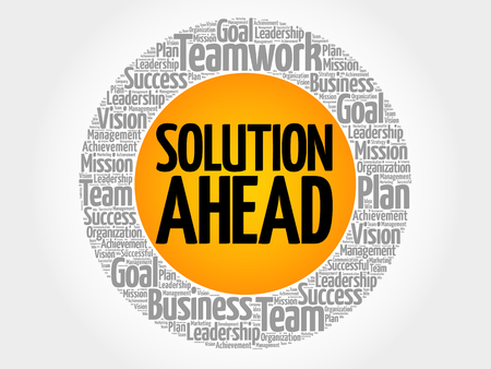 challenges ahead: Solution ahead word cloud collage, business concept background