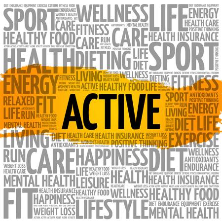 Active word cloud, fitness, sport, health concept