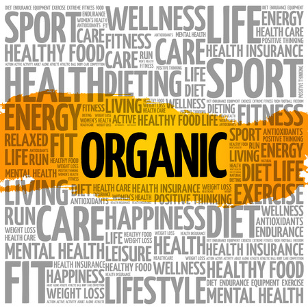 Organic word cloud collage, health concept background