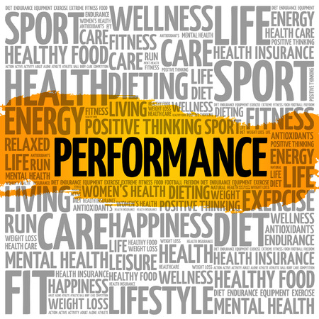 Performance word cloud collage, health concept background Illustration