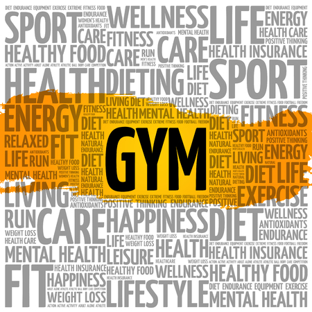 Gym word cloud collage background, health concept.