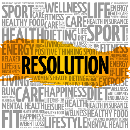 Resolution word cloud collage, health concept background