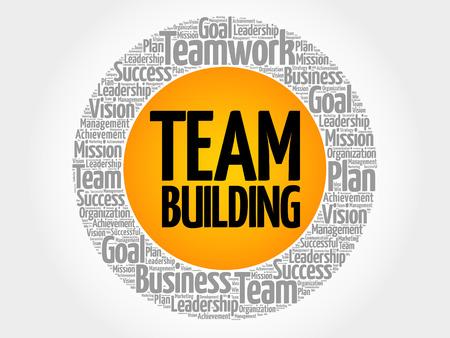 Team Building-de collage van de woordwolk, bedrijfsconceptenachtergrond