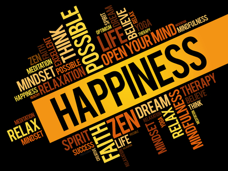 Happiness word cloud collage, concept pattern