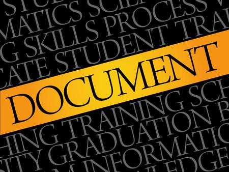 DOCUMENT word cloud collage, education concept pattern Ilustração