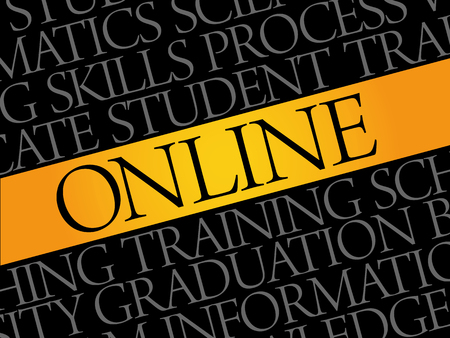 wiki: ONLINE word cloud, education business concept