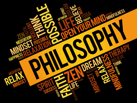 Philosophy word cloud collage, concept pattern Illustration