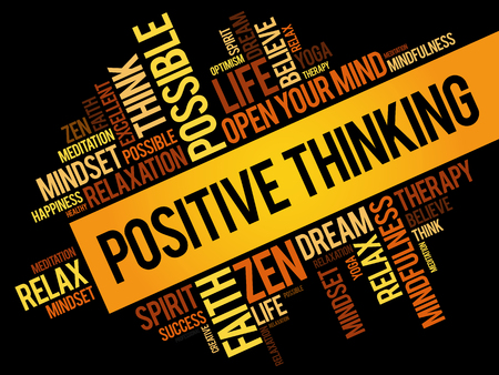 Positive thinking word cloud collage, concept pattern