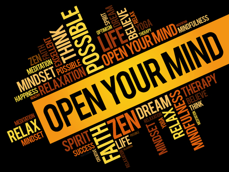 Open your mind word cloud collage, concept pattern