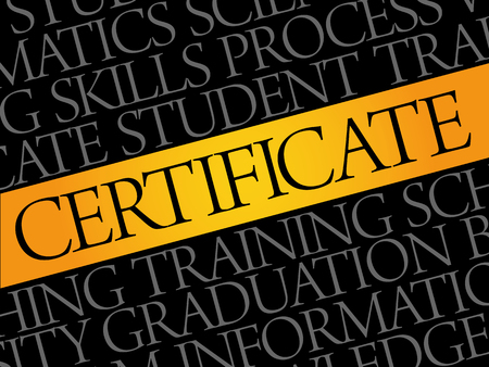 completion: CERTIFICATE word cloud collage, education concept pattern