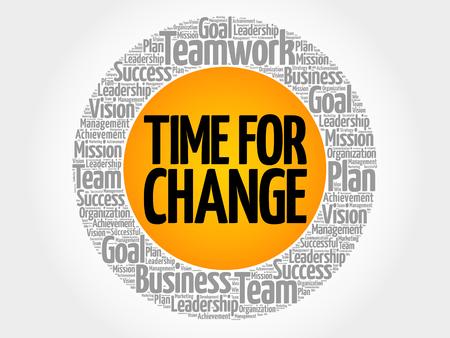 Time for change word cloud, business concept background Illusztráció