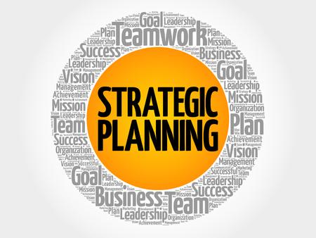 Strategische het woordwolk van de planningscirkel, bedrijfsconcept Stockfoto - 87897592