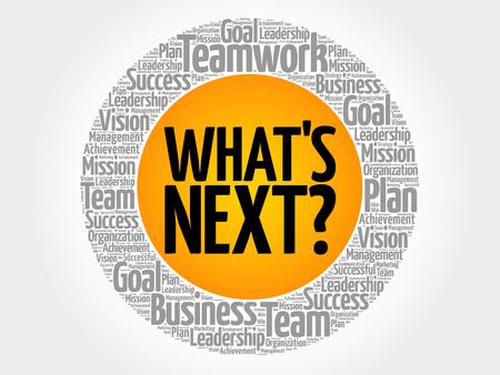 Wat is de volgende cirkel woord wolk, business concept Stock Illustratie