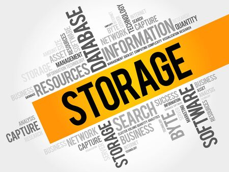 Storage word cloud collage, business concept background