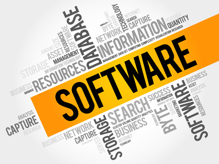 Software word cloud collage, business concept background Иллюстрация