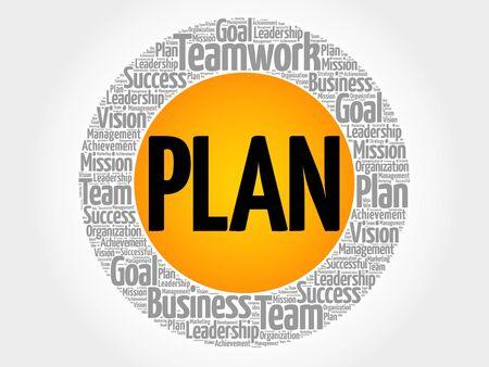 Plan circle word cloud, business concept