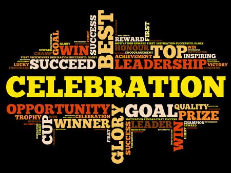 Celebration word cloud collage, business concept background Illustration