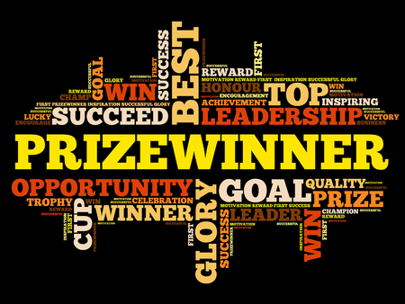 victor: Prizewinner word cloud collage, business concept background