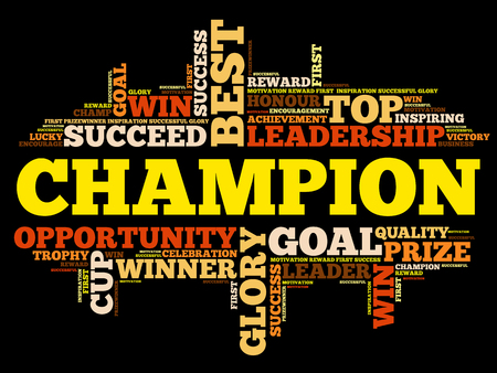 Champion word cloud collage, business concept background 向量圖像