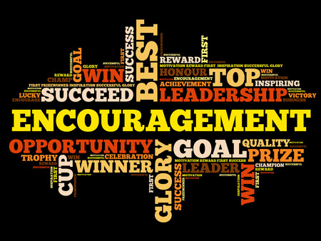 Encouragement word cloud collage, business concept background Illustration