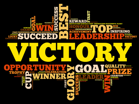 Victory word cloud collage, business concept on black background. Illustration