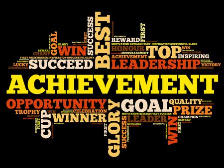 Achievement word cloud collage.