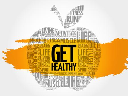Get Healthy apple word cloud, health concept Illustration