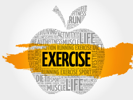 stability: EXERCISE apple word cloud, health concept